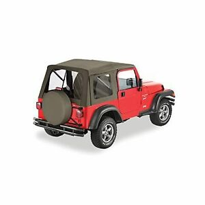 97 06 tj jeep wrangler supertop khaki replacement soft top complete w hardware ebay. Black Bedroom Furniture Sets. Home Design Ideas