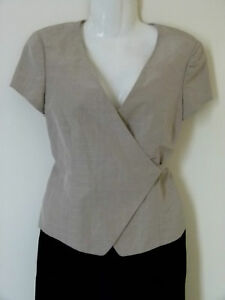 Giorgio Armani Beige silk linen wrap gilet short sleeve jacket UK Size 10
