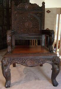 Vintage antique asia oriental india chair wood hand carved high back 70 s ebay