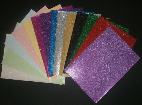 3 x A4 Sheets Soft Touch Glitter Paper - Choices of Colours