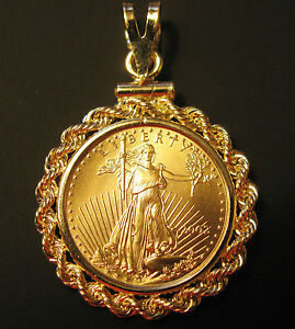 Genuine Gold 1 10 Oz American Eagle Coin Gold Pendant