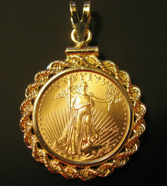 SOLID 14K GOLD ROPE COIN BEZEL for 1/4 Oz Gold American Eagle COIN NOT INCLUDED