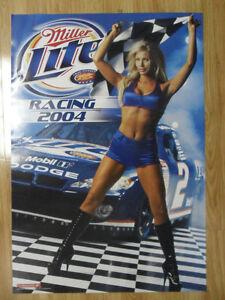 Sexy-Girl-Beer-Poster-Miller-Lite-2004-Nascar-Racing-Flag-Girl