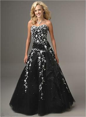 Black Satin/Gauze white flower PROM/BALL//WEDDING Dress SIZE18,20,22,24,26,28