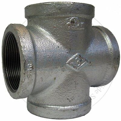 """1-1/2""""  Galvanized Pipe Fitting Crosses (Lot of 10 )"""