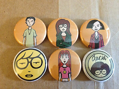 "DARIA set of 6 1"" pins pinback buttons MTV Beavis and Butthead 90s Season 2 4 5"