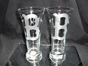 BOSTON-RED-SOX-2-ETCHED-LOGO-20-oz-PILSNER-GLASSES-NEW-034-B-034
