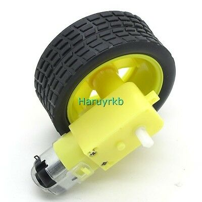 1pcs smart Car Robot Plastic Tire Wheel + DC Gear Motor dc 3v 5v 6v