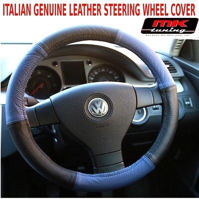 VW Volkswagen New Beetle Bora Golf MK4 Black / Blue Leather Steering Wheel Cover