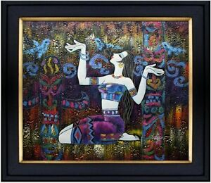 Framed-Kneeling-Lady-and-Birds-Hand-Painted-Oil-Painting-20x24in