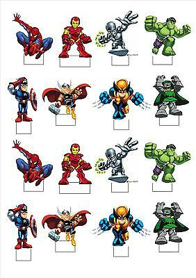 NEW! STANDING cake toppers x 16 - Marvel Squad spiderman hulk flash