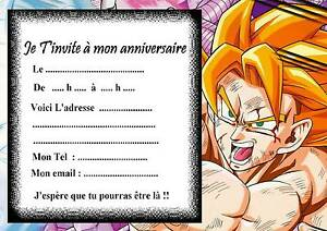 5 cartes invitation anniversaire dragon ball z 01 d 39 autres en vente ebay - Image de dragon ball za imprimer ...