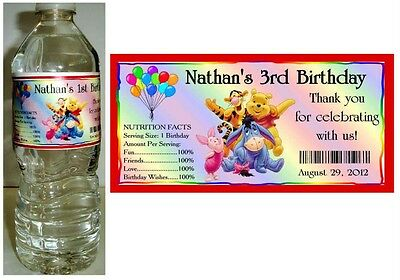 20 WINNIE THE POOH BIRTHDAY PARTY FAVORS ~ WATER BOTTLE LABELS