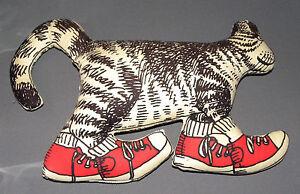 Vintage-Kliban-Cat-Pillow-w-Red-Sneakers-Throw-Stuffed-Plush-Animal-Kitty