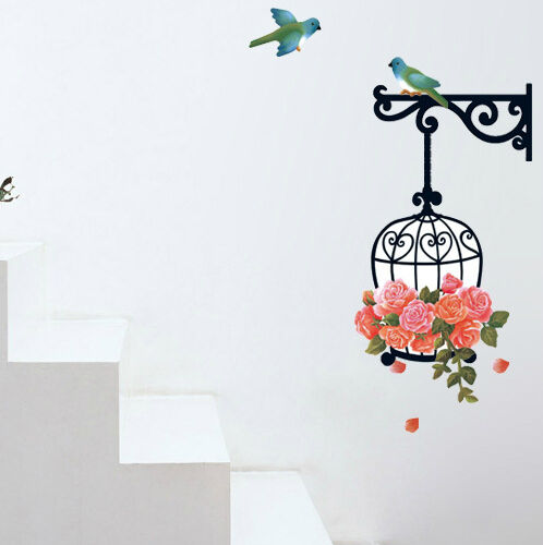 Birds and Flower Cage Wall Stickers Mural Art Decals Premium PVC Sticker