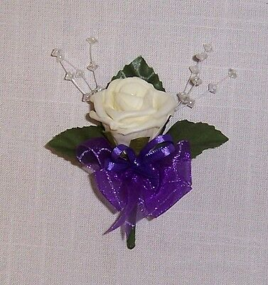 wedding flowers single rose buttonhole with organza & satin ribbons & crystals