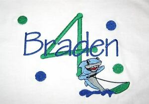 Personalized-Boys-Girls-SURFING-SHARK-Just-Name-or-Birthday-Age-Number-T-Shirt