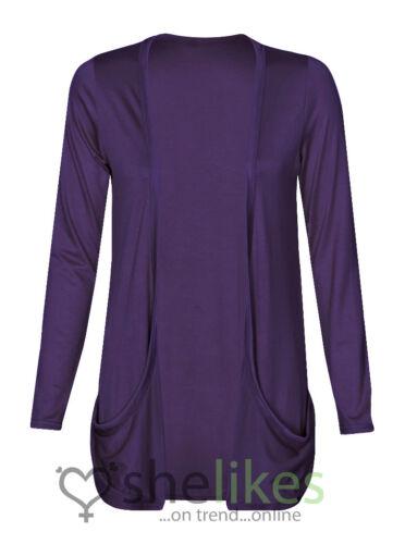 Womens Long Sleeve Boyfriend Pocket Open Cardigan Ladies Top Size 16 18 20 22 24