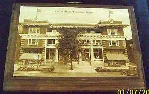 "1900""s POSTCARD MONMOUTH ILL COLONIAL HOTEL WOOD PLAQUE Free Shipping"