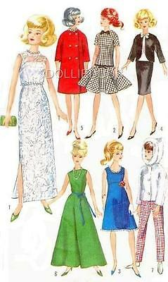 "VINTAGE 11.5"" BARBIE, MIDGE DOLL CLOTHES Pattern 6208"