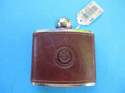 FLASK - STAINLESS STEEL W/ GENUINE BROWN LEATHER & TAG ! NEW. UNIQUE. AMAZING.