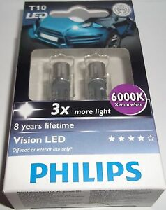 philips vision w5w led 6000k t10 3x more light ebay. Black Bedroom Furniture Sets. Home Design Ideas