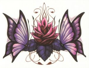 LOWER-BACK-TWO-BUTTERFLY-FLOWER-Temporary-Tattoo-LARGE