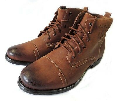 NEW MENS ANKLE BOOTS MILITARY COMBAT STYLE LEATHER LINED SHOES LACE UP/ BROWN