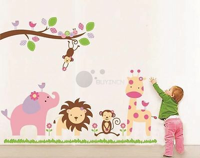 Removable large Animal zoo Wall Sticker Decor Decal Nursery Kids Baby mural