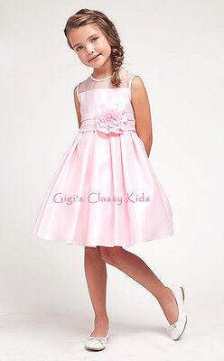New Pink Flower Girls Dress 2-12  Wedding Easter Jr Bridesmaid Christmas 1208