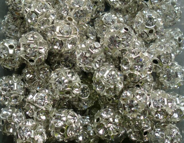20 x 6mm Round Silver Diamante Spacer Beads-Ideal for Jewellery Making/Crafts