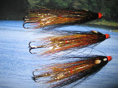 3 V Fly 1.5 Inch Copper Ultimate JC Gold Willie Gunn Salmon Tube Flies & Trebles