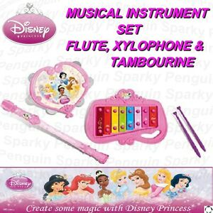 PRINCESS MUSICAL INSTRUMENT SET FLUTE RECORDER XYLOPHONE TAMBOURINE GIRLS PINK
