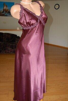 Plus Size Wine Charmeuse Long Gown Venice Lace V back 1X 2X 3X lingerie  V6010 f9a95e3c7