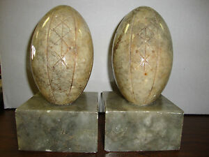 Marble-Football-Bookends-Made-In-Italy-Very-Heavy-7-034-Tall