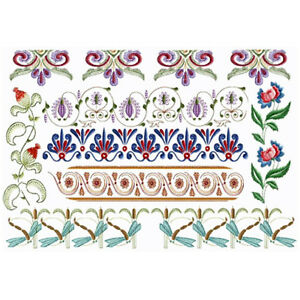 Abc Designs Oriental Flower Borders Machine Embroidery Designs Set 5