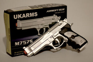 High-Performance-Airsoft-Pistol-Silver-6mm-12-Rounds-M757S-Replica-1000-BB-Inc