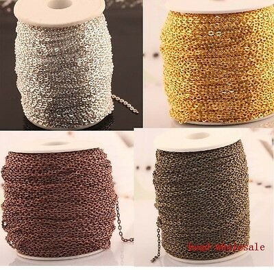5m/100m Silver /Gold Plated Cable Open Link Iron Metal Chain Findings