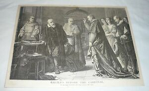 1877 magazine engraving ~ GALILEO BEFORE THE CARDINAL