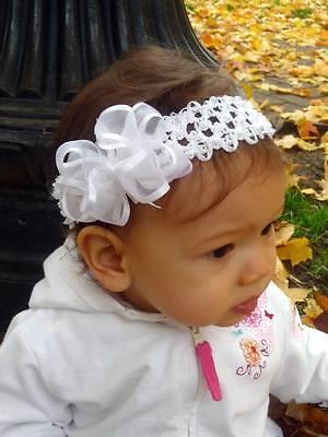 WHITE hair bow Headband Organza Infant Baby Gift Baptism Christening Flowergirl