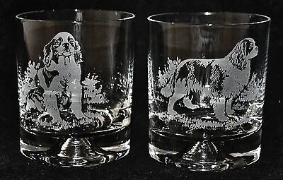 Glass Whisky Tumbler KING CHARLES SPANIEL *DOG GIFT*