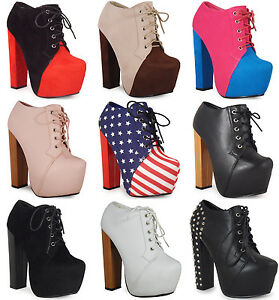 NEW-WOMENS-LADIES-LACE-UP-CONCEALED-PLATFORM-HIGH-BLOCK-HEEL-SHOES-BOOTS-SIZ-3-8