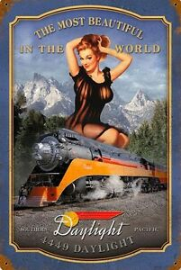 SOUTHERN-PACIFIC-RAILROAD-RAIL-GIRL-TIN-SIGN-train