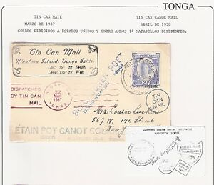 Tonga: Cover 1937, Niuafoou to Usa in 6 languages, by Tin Can Mail.TG085