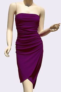 Strapless-Dresses-Party-Cocktail-Womens-Style-Clubwear-Purple-Mini-Dress-S-M-L