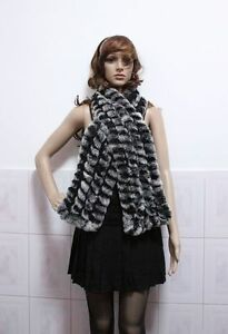 On-sale-genuine-rabbit-fur-knitting-scarf-wraps-black-with-white-tips-xmas-gifts