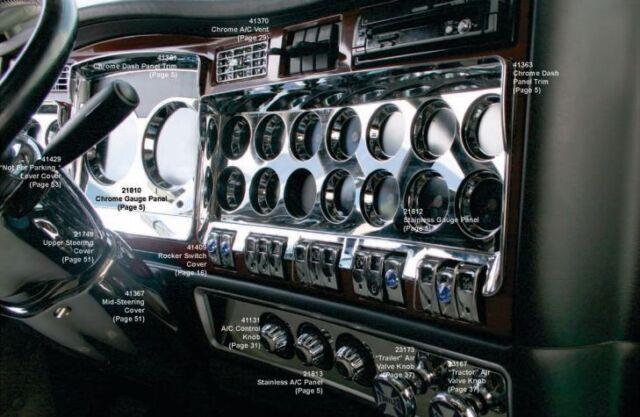 Kenworth W900 T800 T660 C500 2006+ Chrome Right Dash Gauge Panel Outer Trim