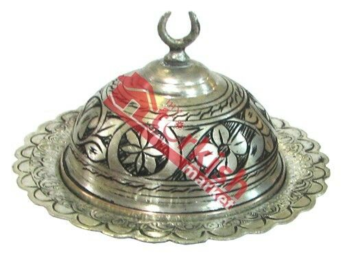 TURKISH DELIGHT BOWL, TURKISH SUGAR BOWL, HANDMADE COPPER WITH ELABORATE DESIGNS
