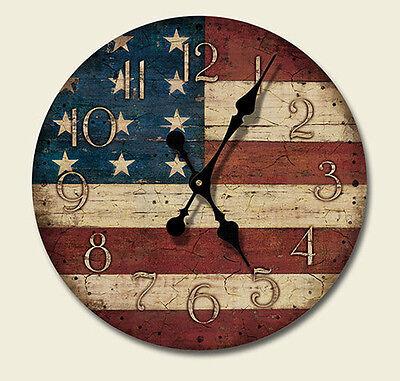 Western Lodge Cabin Decor Americana Wood Wall Clock Made
