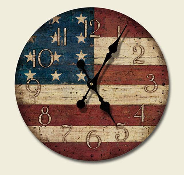 Western Lodge Cabin Decor Americana Wood Wall Clock MADE IN THE USA